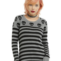 Grey & Black Skull & Stripe Girls Pullover Sweater