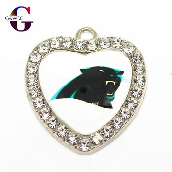Crystal Glass Heart Carolina Panthers Sport Hanging Dangle Charms Fit DIY Women Men Bracelet Necklace Pendant Earrings Jewelry