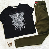 An Elephant Cropped Tee in Black