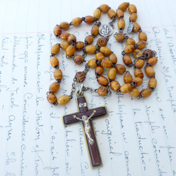 Antique French Wood Rosary, SHIPPING INCLUDED
