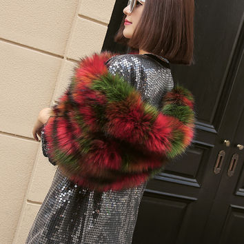 Multicolor Fluffy Faux Fur Shoulder Snood
