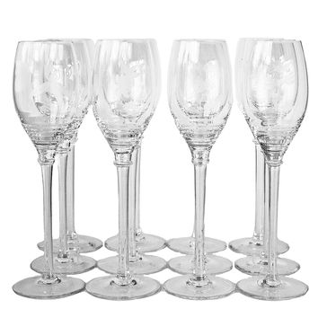 Crystal Champagne Glasses, Etched Flower Patterns, Sets of 4