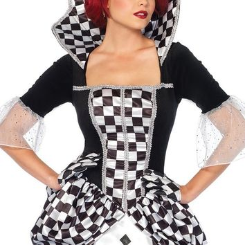 Check Your Head Black White Checkerboard Pattern 3/4 Sleeve Collar Square Neck Print Ball Gown Maxi Dress Halloween Costume