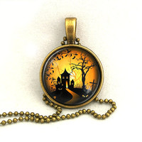 10% SALE Halloween Necklace Haunted Castle Pendant with Chain Necklaces Gift