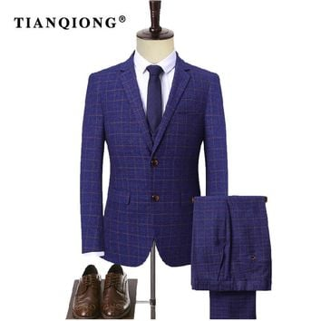 TIAN QIONG Royal Blue Mens Plaid Tailor-made Suits Wedding Tuxedo Groom Slim Fit Groom Suits Wedding Dress (Blazer+Pants+ Vest)