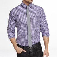NON-IRON FITTED PLAID SHIRT