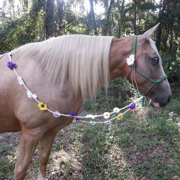 Handmade Reins Covered in Flowers - Pansy Daisy Dogwood Rose Flower Reins for Horses - Equine Costume