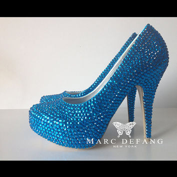Luxury Peacock Blue Crystal Platforms
