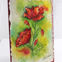 Poppies, Original Handpainted Card, Watercolor Card, 100 % Cotton Rag Paper, handmade card, NOT A PRINT,