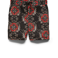 Baroque Print Drawstring Shorts Black/Red