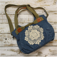 Boot camp denim  handbag with crochet, purse, bag, pocketbook | H5