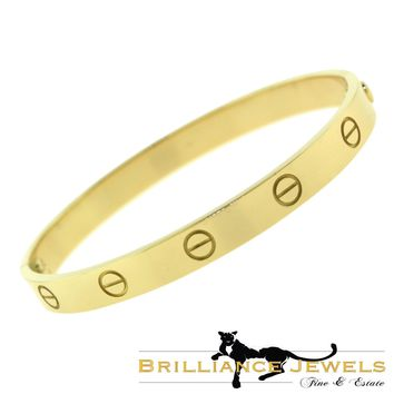 AUTHENTIC Cartier LOVE Bracelet in 18k Yellow GOLD, Size 17 Box, CERT (C-172)