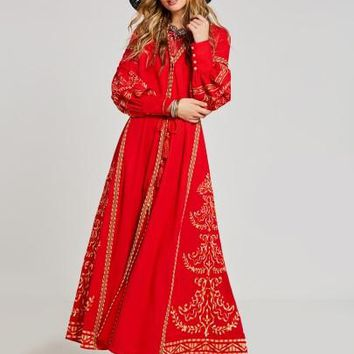 Red Lantern Sleeve Lace up Women's Maxi Dress