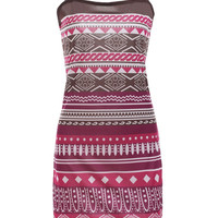 Ethnic Printed Square Neck A-Line Dress