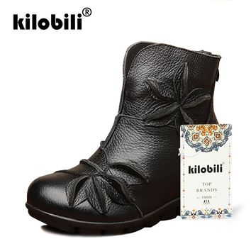 kilobili Winter Cow Leather Ankle Snow Boots Women Plush Round Toe Soft Leather Flat With Rubber Boots Hollow Ladies Moccians