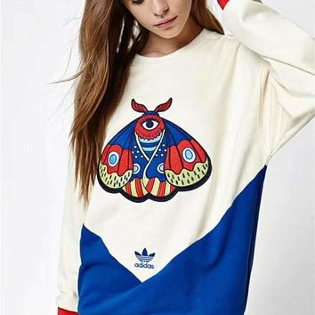 """Adidas"" Women Personality Sport Casual Multicolor Butterfly Embroidery Long Sleeve Sweater Pullover Sweatshirt Tops"