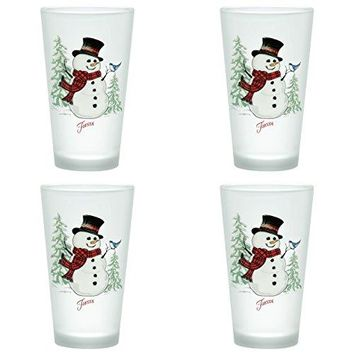 Officially Licensed Fiesta Snowman Frosted Glass Set of 4 (Cooler, 16-Ounce)