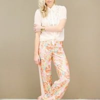 silk floral trousers by Aryn K with cream tuxedo stripes down the side | shopcuffs.com