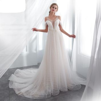 Wedding Gown Romantic Off Shoulder Sheer Neck Feather Pearl Empire Waist Lace Bridal Dresses