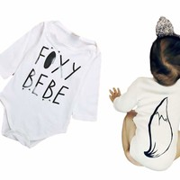 "Unisex Newborn Baby Boy/Girl White ""Foxy Bebe"" Fox Tail Long Sleeve Onesuit Bodysuit"