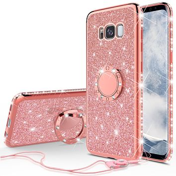 Samsung Galaxy S8 Case, SM-G950 Case, Glitter Cute Phone Case Girls with Kickstand,Bling Diamond Rhinestone Bumper Ring Stand Sparkly Luxury Clear Thin Soft Protective Samsung Galaxy S8 Case for Girl Women - Rose Gold