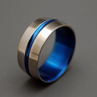 Blue Signature Ring  Titanium Wedding Bands by MinterandRichterDes