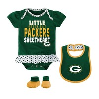 Green Bay Packers Little Sweetheart 3-Piece Bodysuit Set - Baby Girl, Size:
