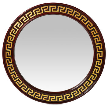 Mirrors, Greek Key Circle Wall Mirror, Gold, Wall Mirrors