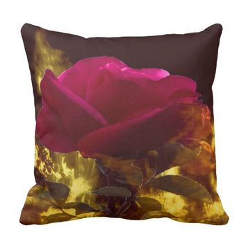 Rose in a fire, on a cotton throw pillow