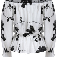 White Black Off the Shoulder Floral Blouse -SheIn(Sheinside)