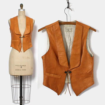 Vintage 80s Ralph Lauren Lambskin VEST / 1980s Western Wear Leather Fitted Waistcoat