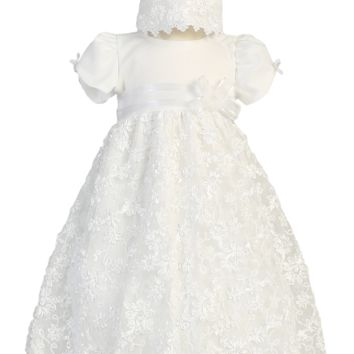 Girls Floral Satin Ribbon Embroidered Tulle Baptism Dress 0-18m