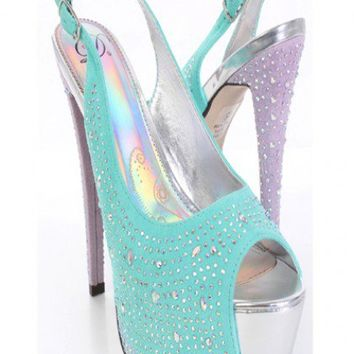 Aqua Faux Suede Rhinestone Studded Slingback Platform Heels @ Amiclubwear Heel Shoes online store sales:Stiletto Heel Shoes,High Heel Pumps,Womens High Heel Shoes,Prom Shoes,Summer Shoes,Spring Shoes,Spool Heel,Womens Dress Shoes,Prom Heels,Prom Pumps,Hig