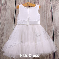 A-line Scoop Floor-length Tulle Pretty Flower Girl Dress With Flower And Sash