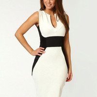 White and Black Sleeveless Cut-Out Midi Dress