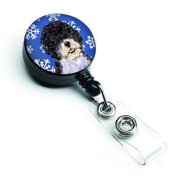 Portuguese Water Dog Winter Snowflakes Holiday Retractable Badge Reel SS4628BR