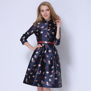 Autumn Birds Print Casual Midi Dress