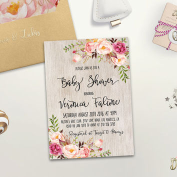 Boho Baby Shower Invitation Printable Floral Baby Shower Invite Bohemian Baby Shower Spring Baby Shower Peony Baby Shower Digital File