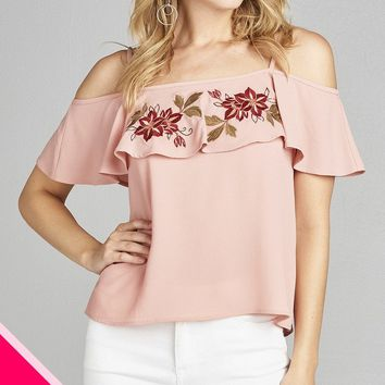 Ladies fashion plus size open shoulder flounce w/embo crepe woven top