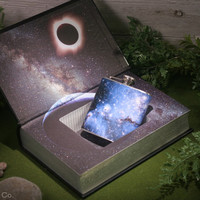 Hollow Book Safe & Small Magellanic Cloud of Stars Flask- The War of the Worlds