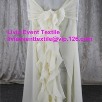 30pcs Ivory Chiffon Chair Cover Hood
