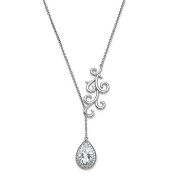 Sterling Silver CZ To My Bride 17.5in. Necklace With 3/4in. Ext