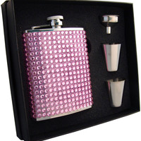 Kylie 6oz Pink Bling Flask Gift Set