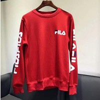 FILA Women's Round Neck Solid Color Long Sleeve LOGO Printed Sweatshirt F-AG-CLWM red