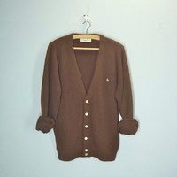 Christian Dior Cardigan / Vintage Brown Sweater / Slouchy Cardigan