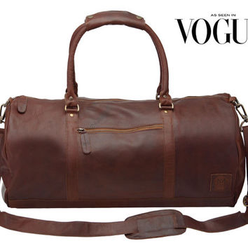 Leather weekend bag - Leather duffle bag - overnight bag - gym bag in Vintage Brown by MAHI Leather