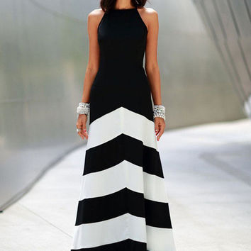 Women's Casual Style Black & White Summer Night Long Maxi Dress