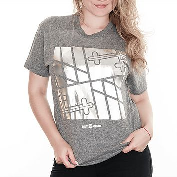 Sideways Maryland Flag Square (Chrome on Grey) / Ladies Dolman Shirt