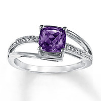 Amethyst Ring Diamond Accents Sterling Silver