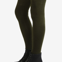 Olive Green Thigh High Socks